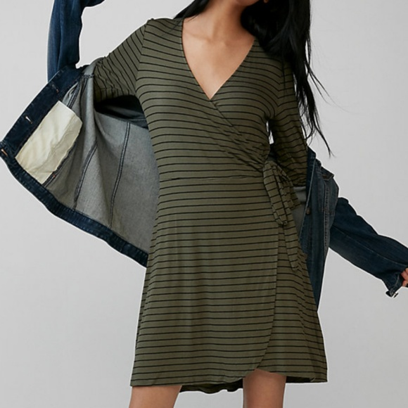 Express Dresses & Skirts - NWT Express striped green long sleeved wrap dress